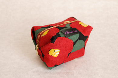 Bachica 3-way OTOFU POUCH size M Big Flowers Black x Red