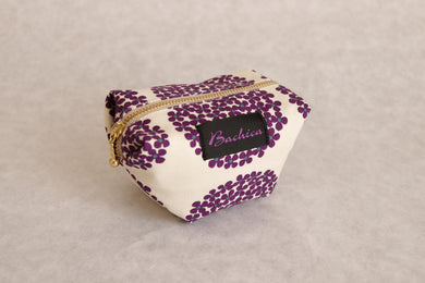 Bachica 3-way OTOFU POUCH size S Small Flowers White x Purple