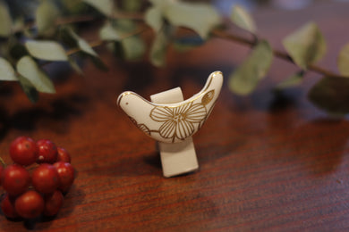 migiwa motohashi pottary accessories Tori-brooch fold-wings MMBS04