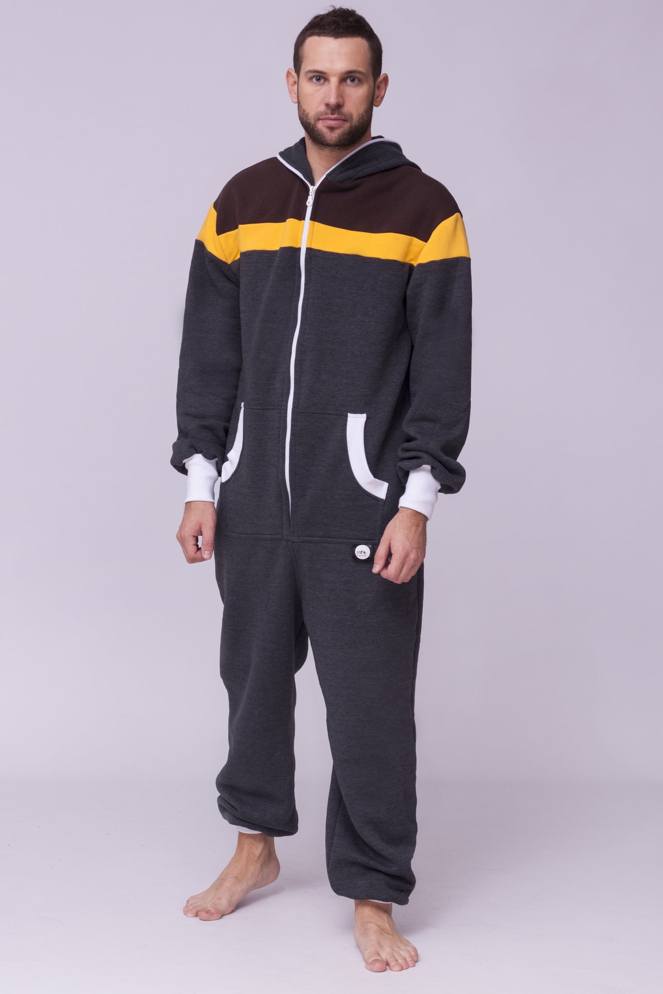 grey men onesie sofa killer