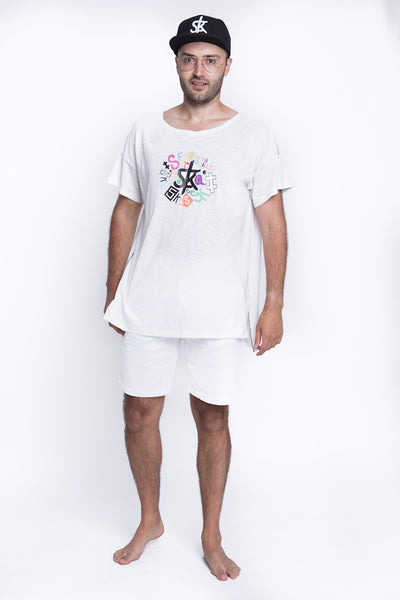 Sofa Killer white summer t-shirt with application SK
