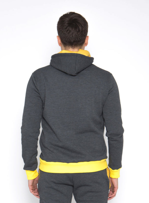 Sofa Killer warm dark grey men hoodie with yellow cuff LTU