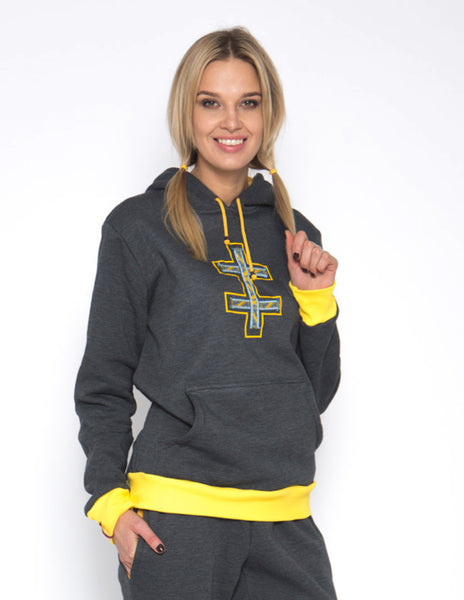 Sofa Killer warm dark grey women hoodie with yellow cuff LTU