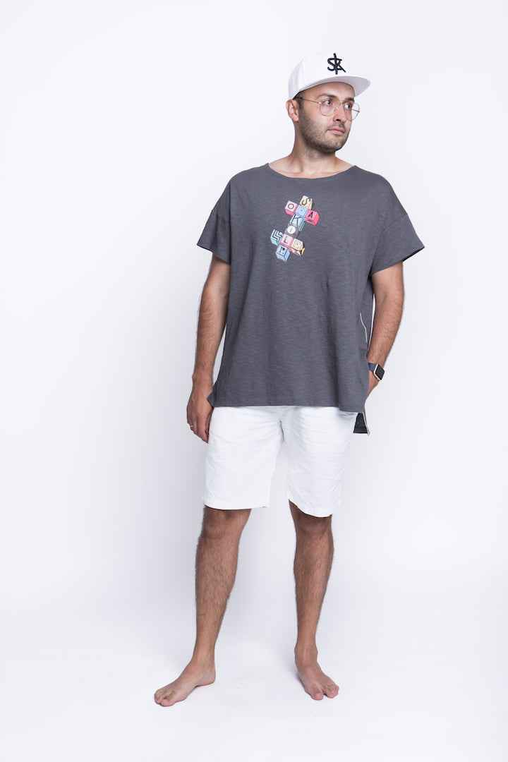 Sofa Killer grey summer t-shirt with application Cubic cross