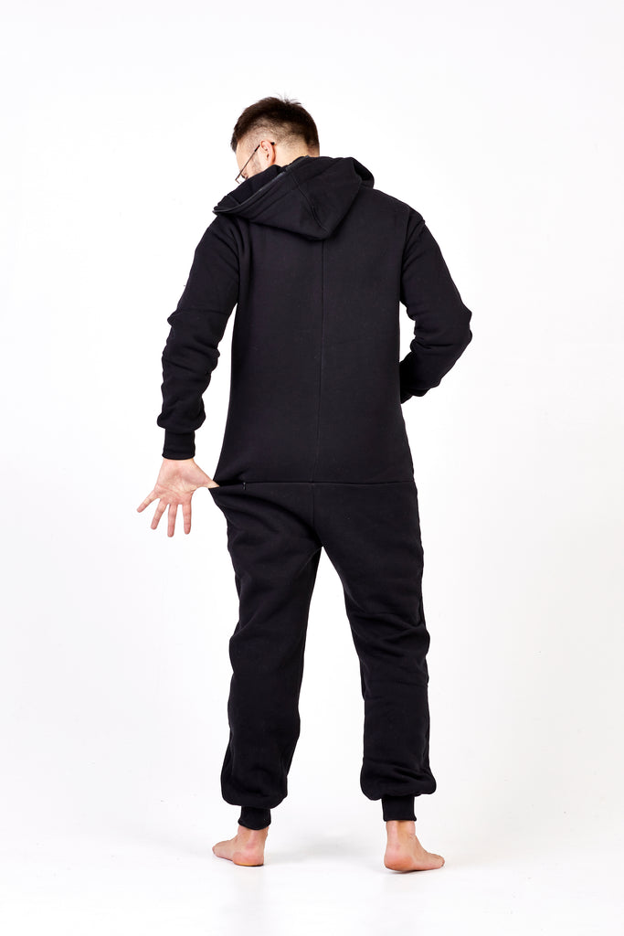 all black onesie with zipper in the back