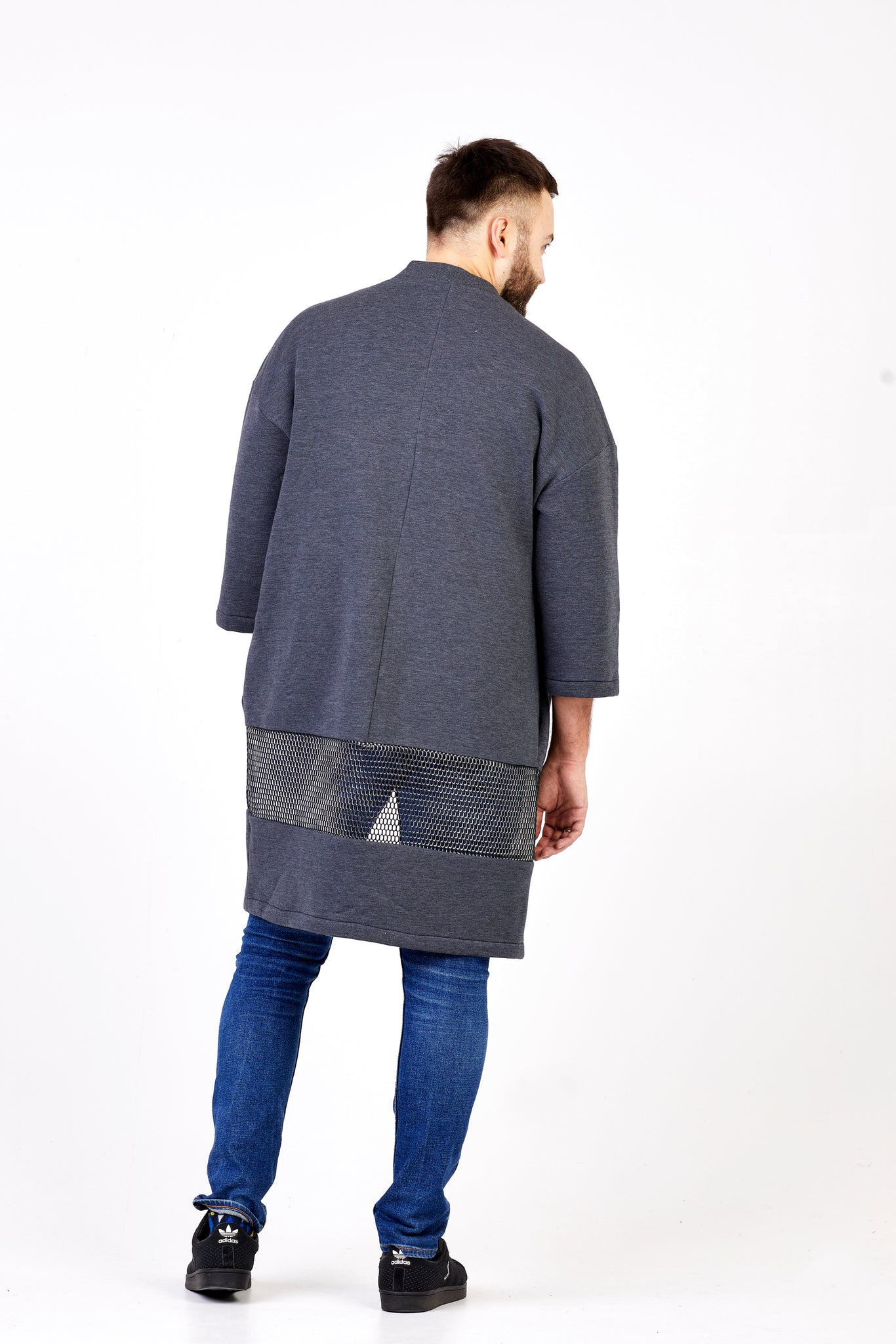 dark grey long men kimono