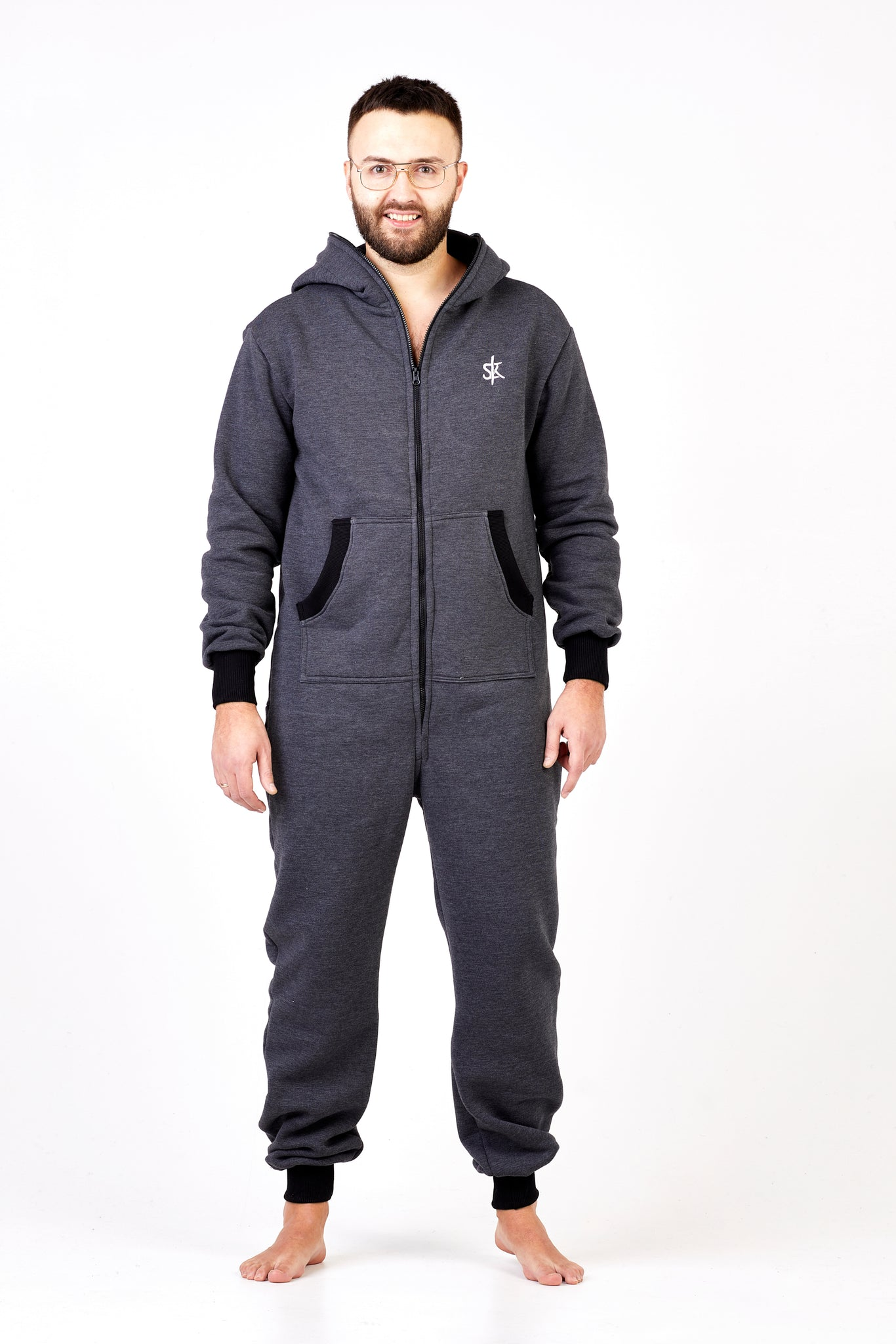 dark grey onesie with zipper in the back