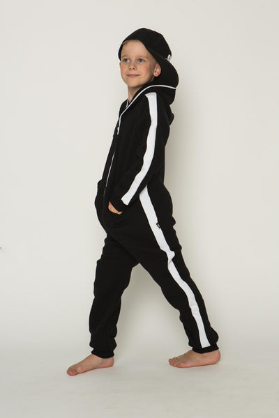 Sofa Killer black unisex kids onesie with white vertical lines