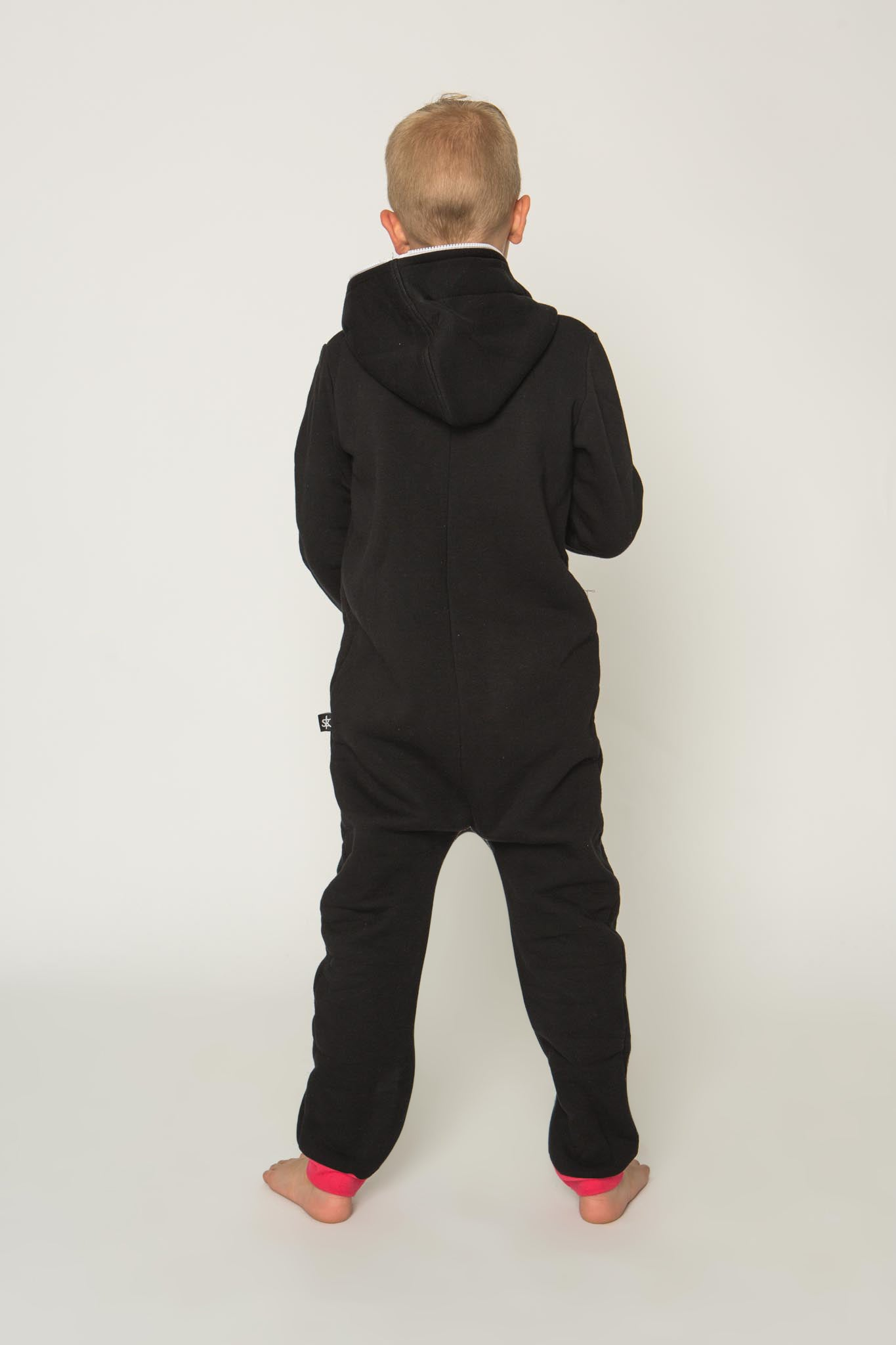 Sofa Killer black unisex kids onesie with red cuffs