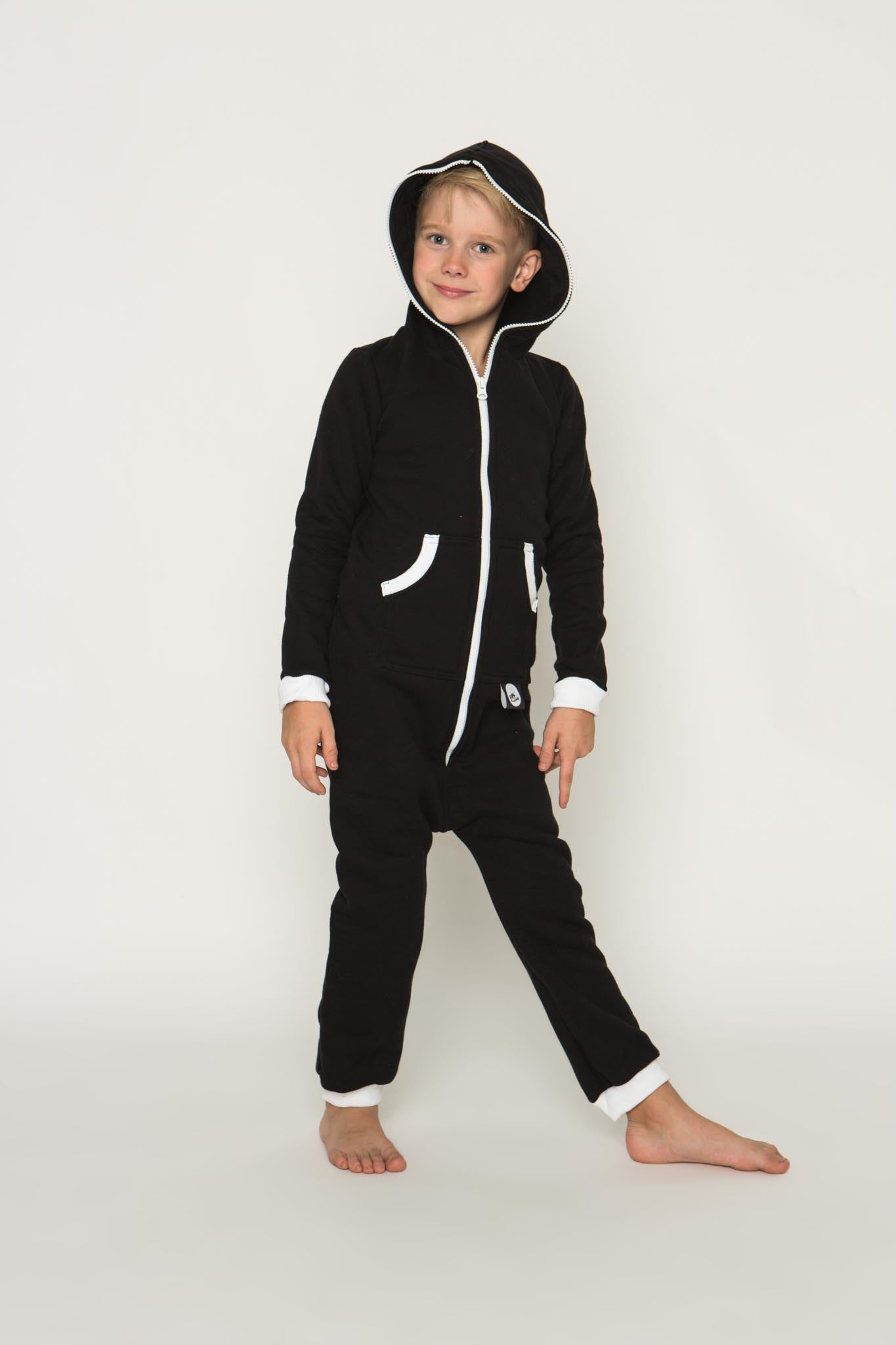 Sofa Killer black unisex kids onesie with white cuffs