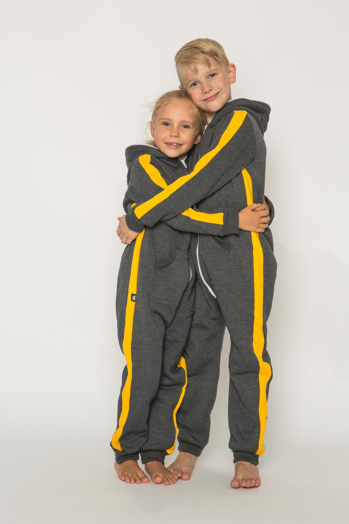 Sofa Killer dark grey unisex kids onesie with yellow vertical lines