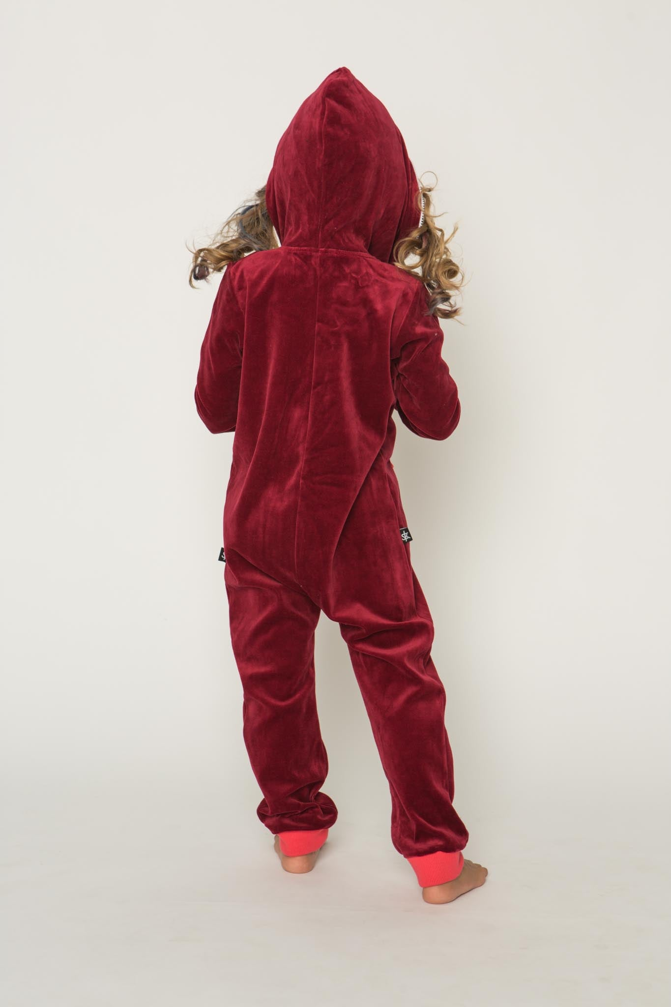 Sofa Killer burgundy unisex kids velours onesie