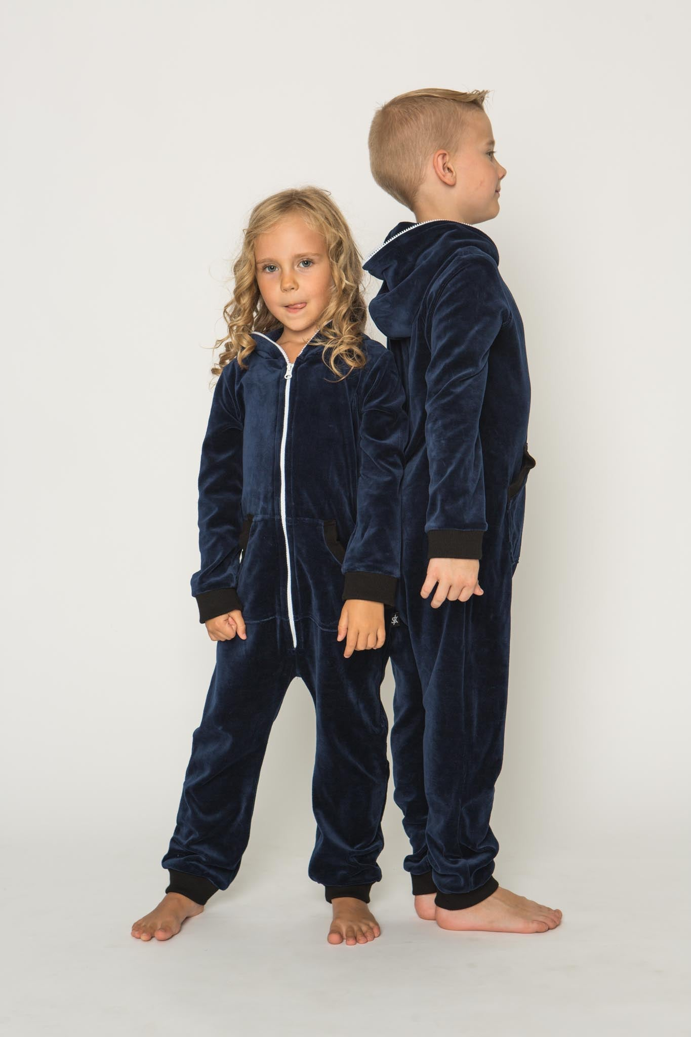 Sofa Killer dark blue unisex kids velours onesie