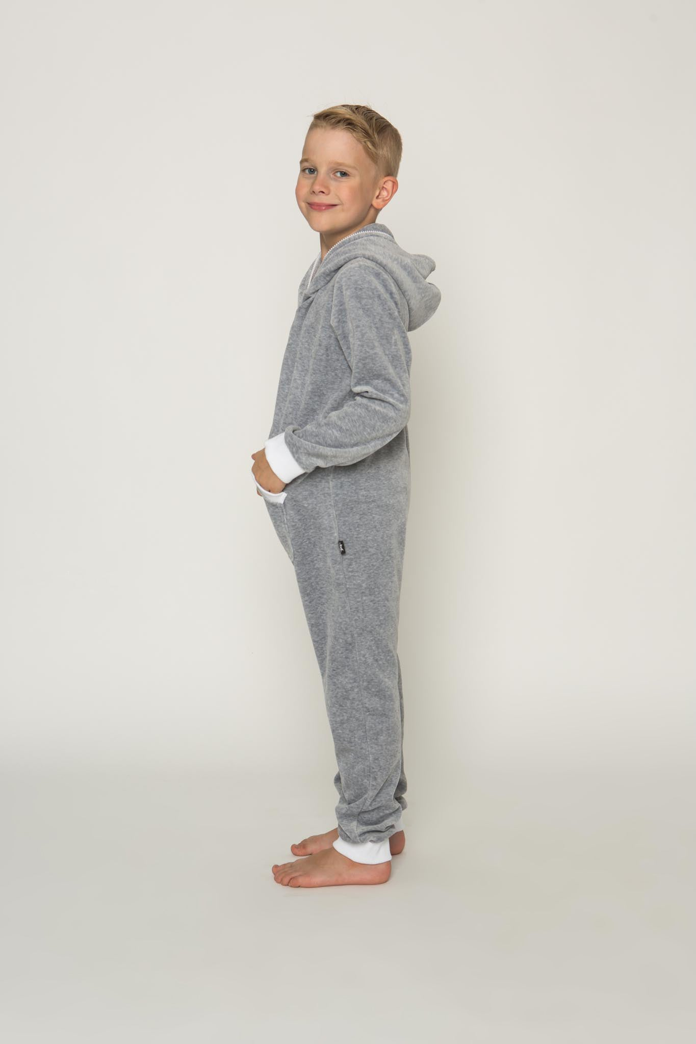 Sofa Killer light grey unisex kids velours onesie