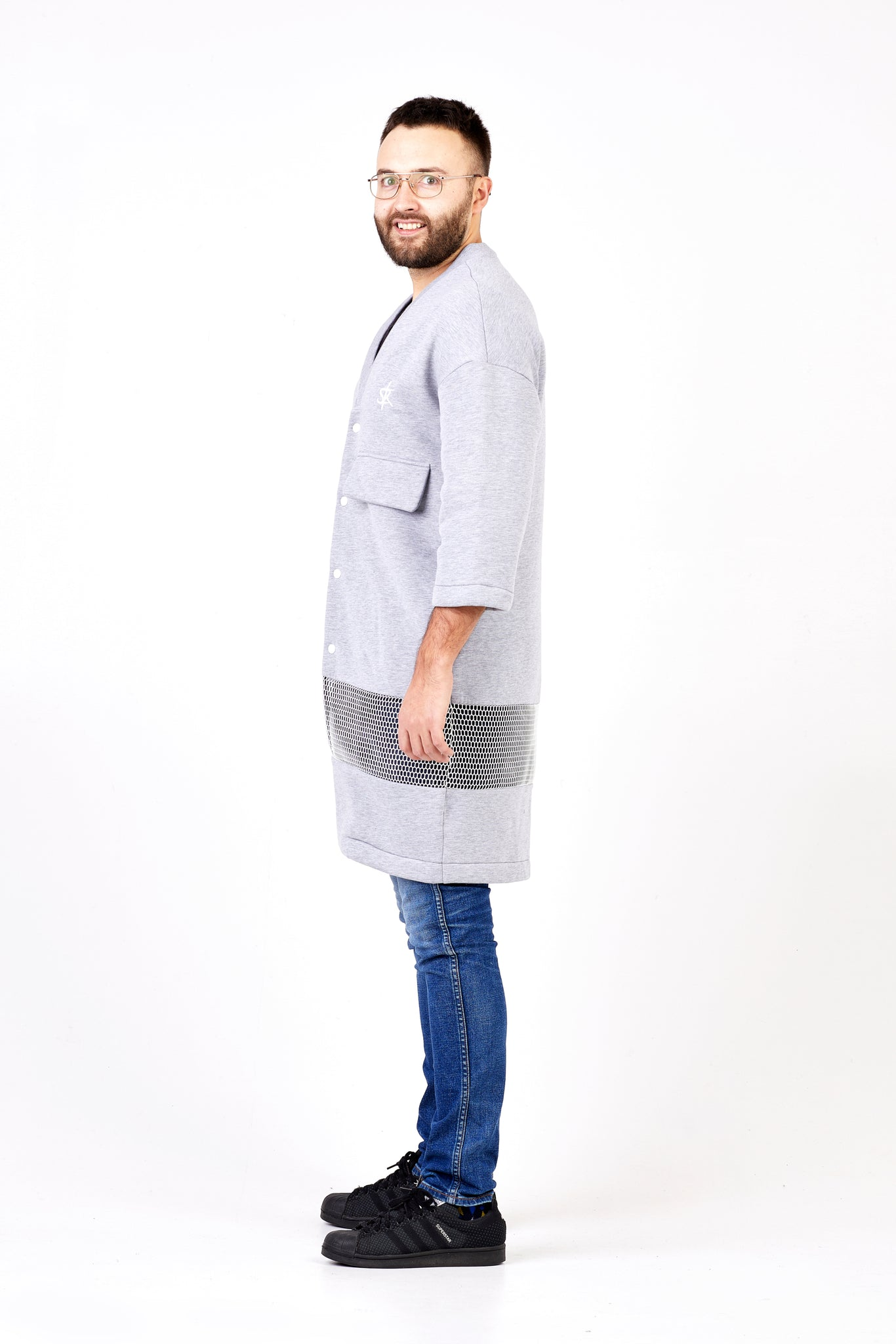 light grey long men kimono