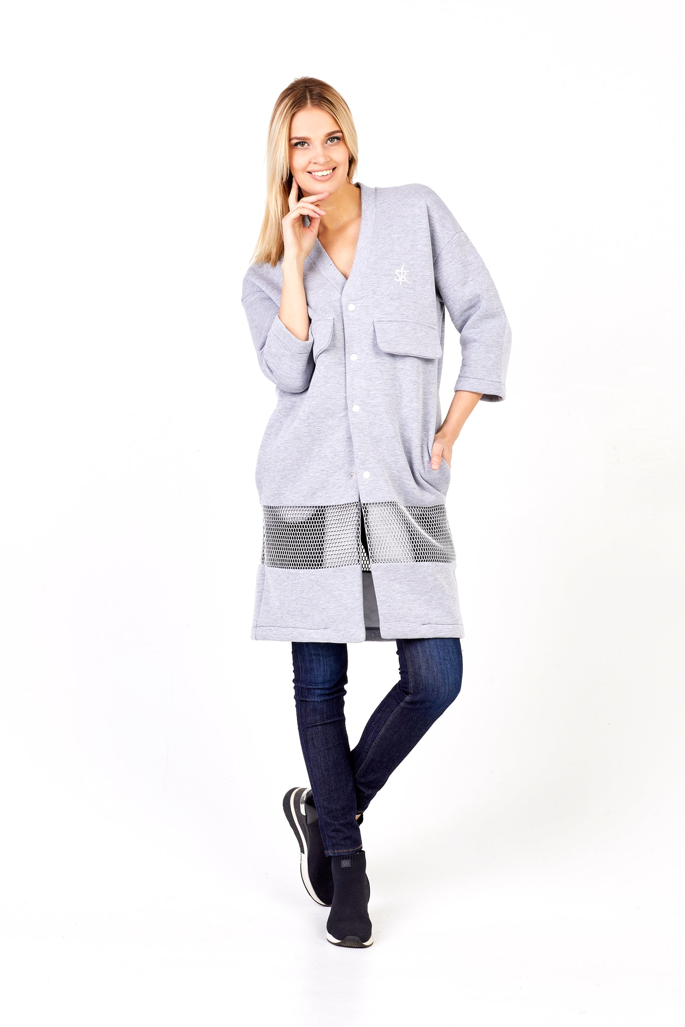 Sofa Killer light grey long kimono jacket