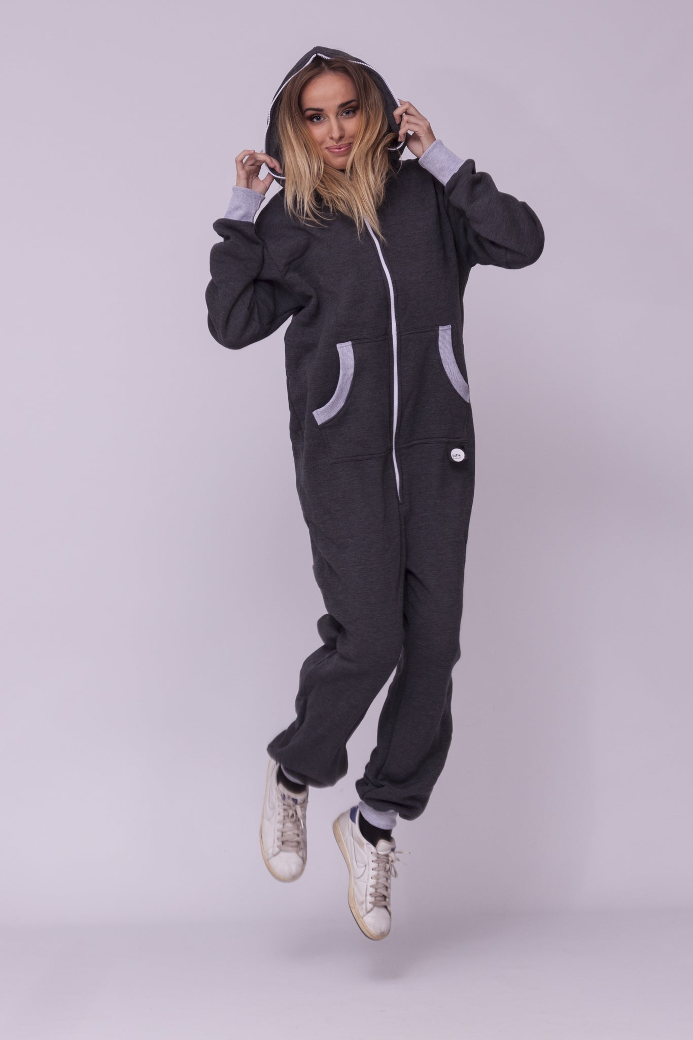 grey women onesie sofa killer