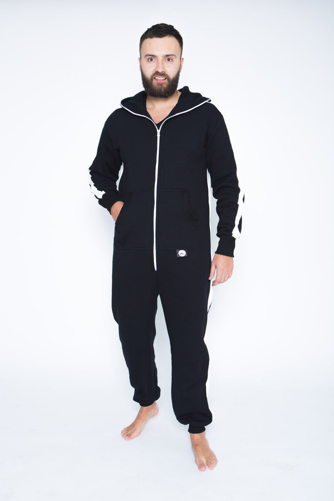 black men onesie with white stripes