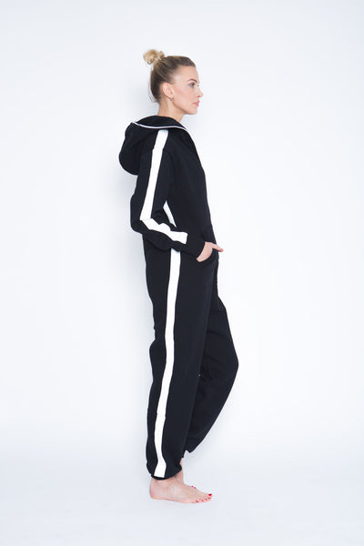 black women onesie with white stripes