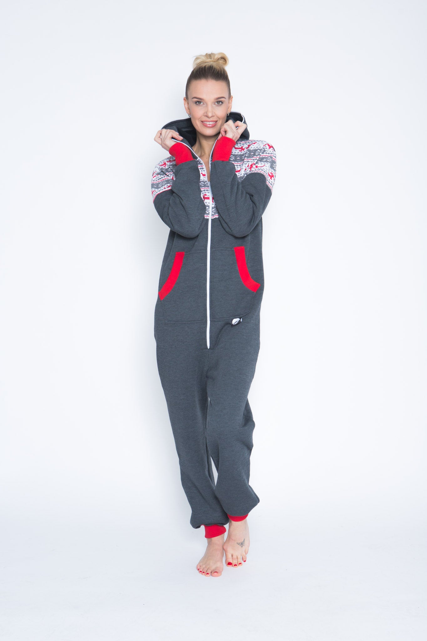 grey women nordic onesie sofa killer