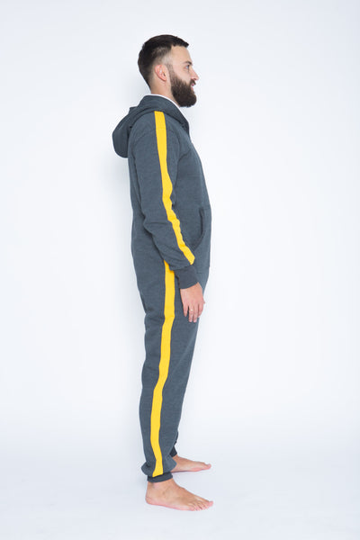 grey men onesie with yellow stripes