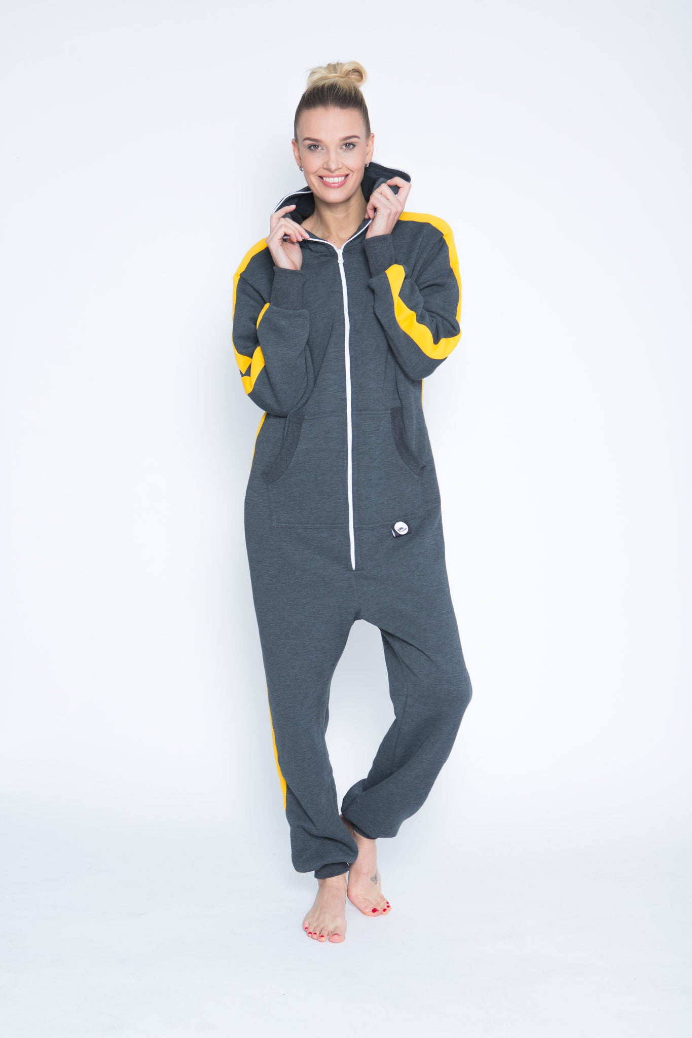 Sofa Killer dark grey onesie with yellow vertical lines