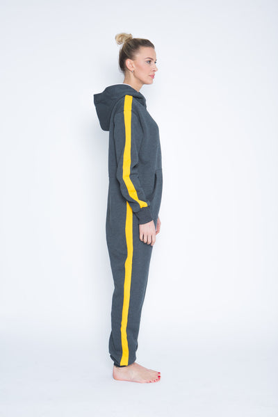 grey onesie with yellow stripes