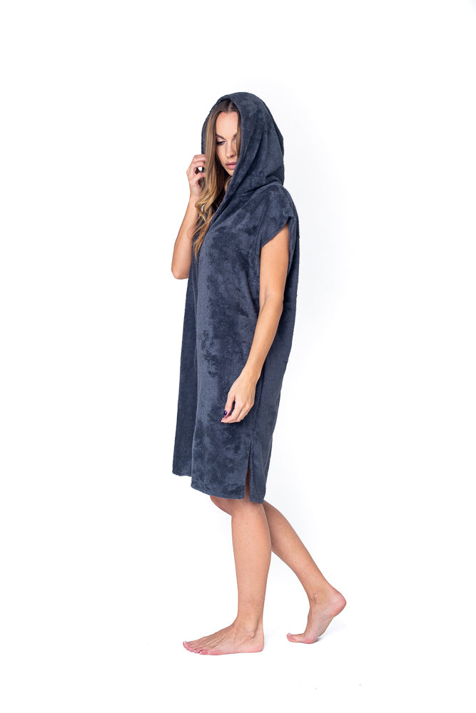 Sofa Killer dark grey bamboo frottee women poncho