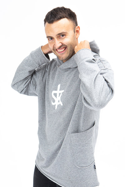 Sofa Killer warm light grey men long hoodie with white SK logo