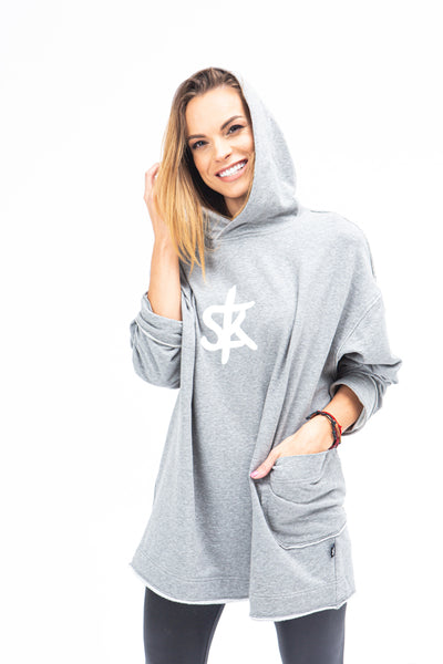 Sofa Killer long warm light grey women hoodie with white SK logo