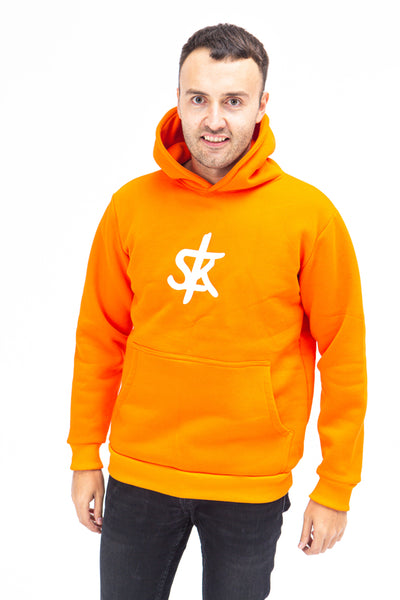 Sofa Killer warm orange men hoodie with white SK logo