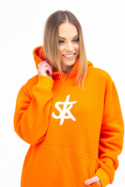 Sofa Killer warm orange women hoodie with white SK logo
