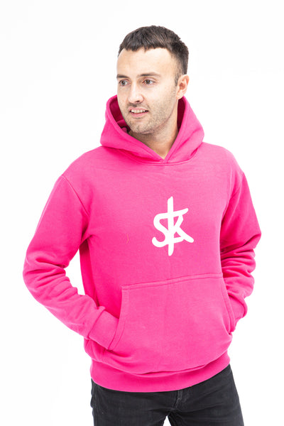 Sofa Killer warm pink men hoodie with white SK logo