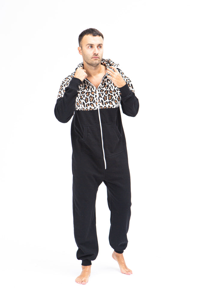 Sofa Killer black men onesie with leopard pattern LEO