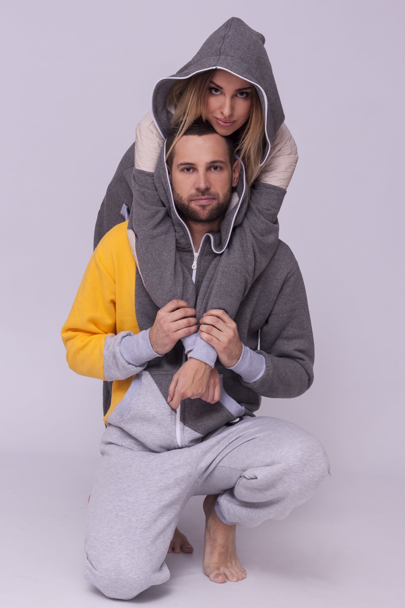 tricolour couple onesie