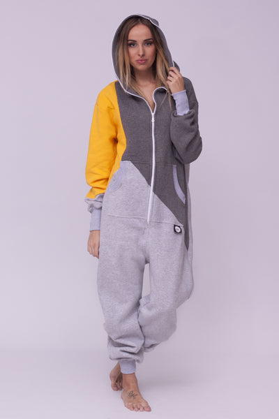 Sofa Killer tricolor onesie with yellow sleeve