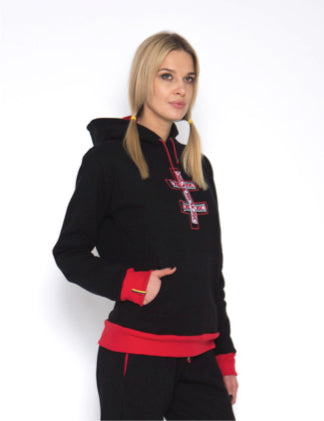 Sofa Killer warm black women hoodie with yellow cuff LTU