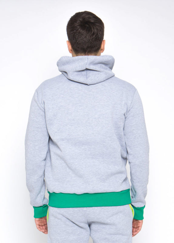 Sofa Killer warm light grey men hoodie with yellow cuff LTU