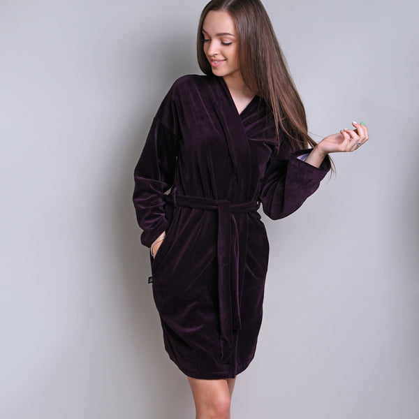 Sofa Killer eggplant color velours robe