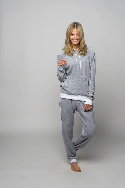 light grey color velours loungewear