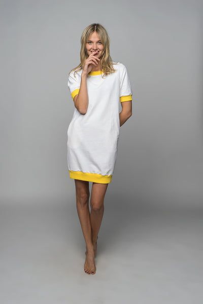 Sofa Killer white dress with yellow cuff