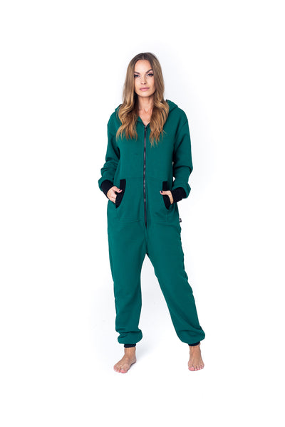 Sofa Killer haki onesie with a zipper in the back