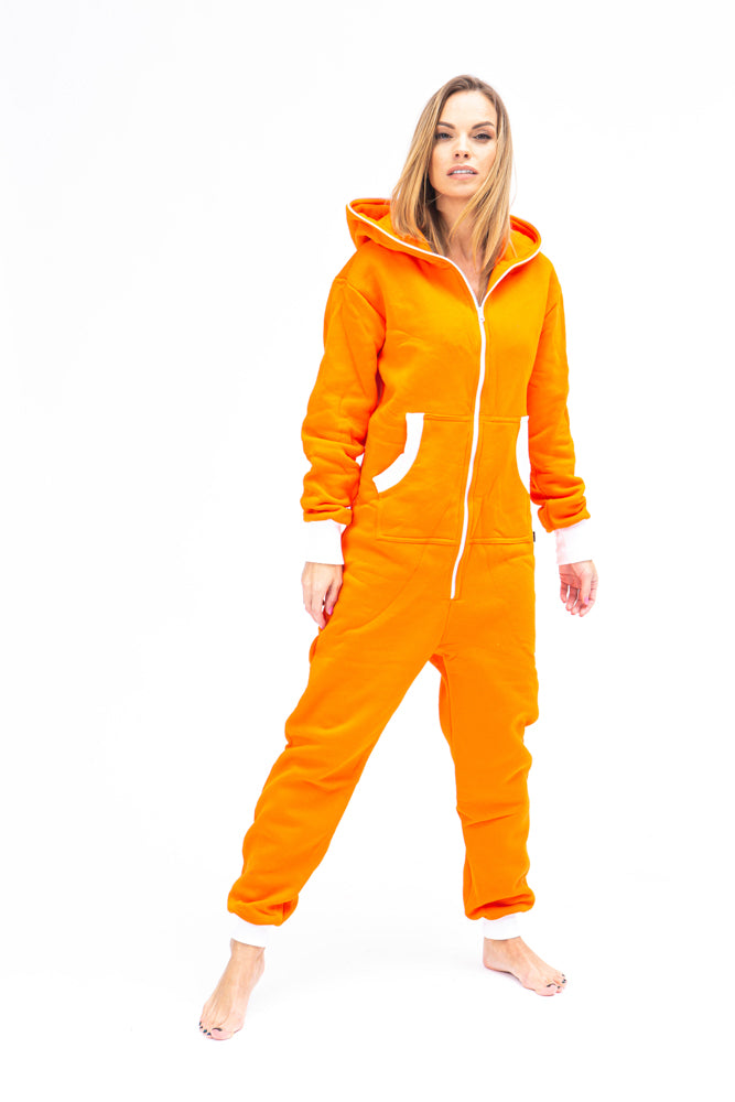 Sofa Killer orange women onesie with white cuff