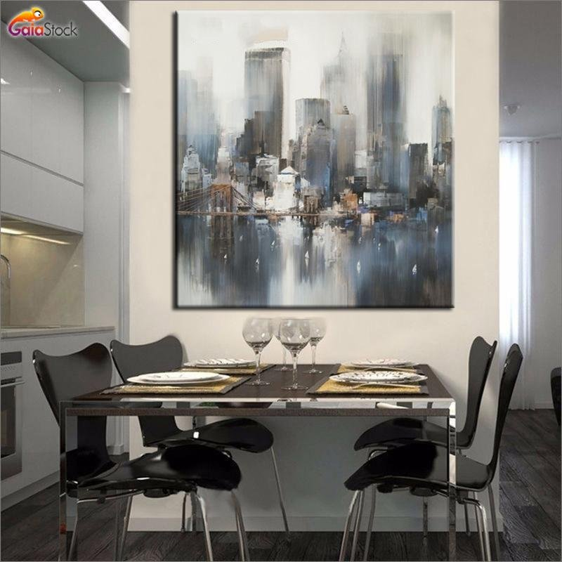 100% HANDMADE OIL PAINTING new york painting abstract - Gaia-Stock.com