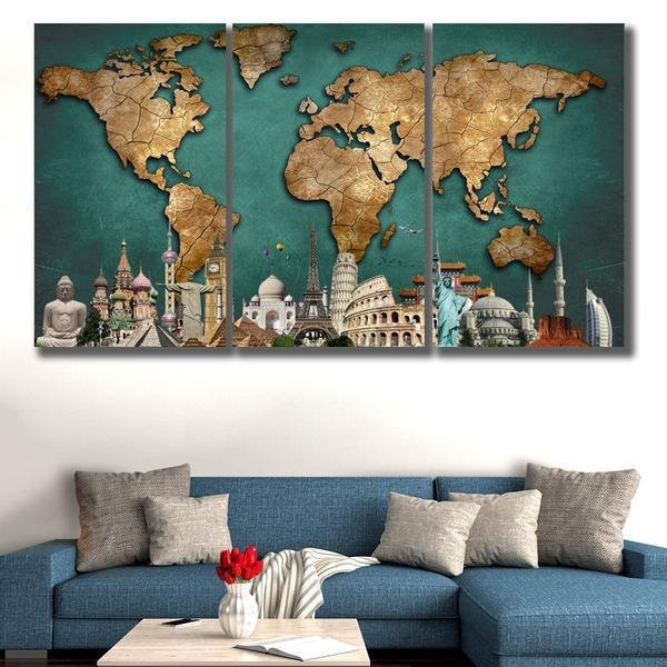 3 Panels HD World Map Monuments - Gaia-Stock.com