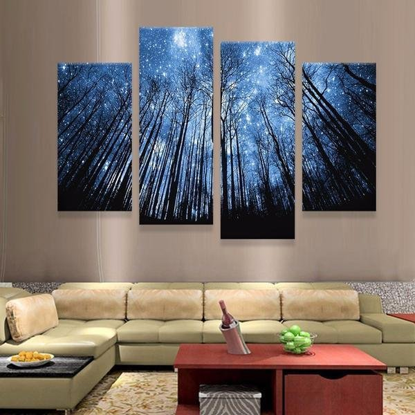 4 Panels Magical Forest At Night - Gaia-Stock.com