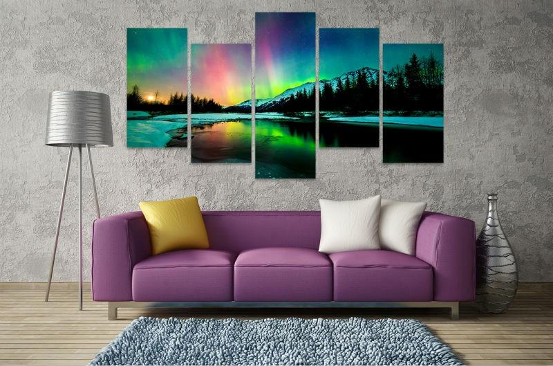5 Piece Aurora Borealis At Night Sky - Gaia-Stock.com
