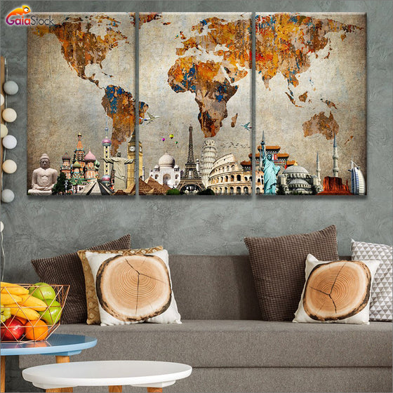 World map canvas art gaia stock masterpiece colorful world map gumiabroncs Images