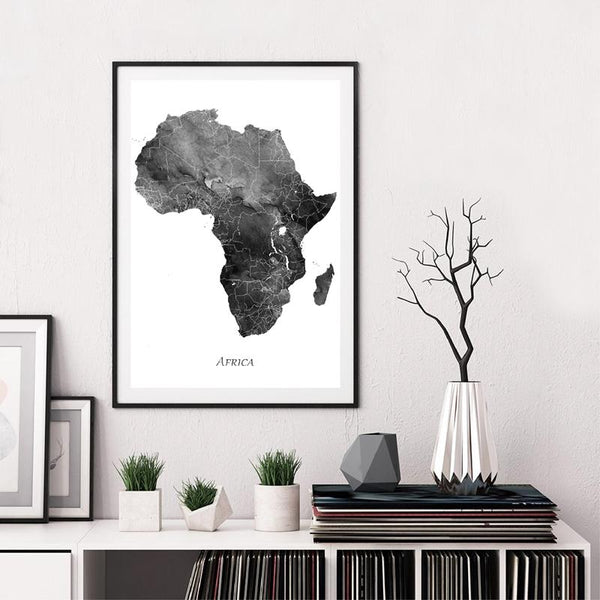 Africa Map Posters and Prints Watercolor Map Travel - Gaia-Stock.com