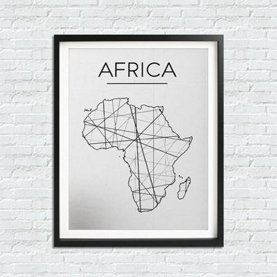 Africa Map Wall Art Canvas Poster Print Modern Black And White Minimalist - Gaia-Stock.com